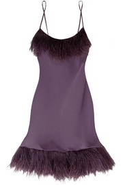 Carine Gilson Feather-trimmed silk-satin chemise
