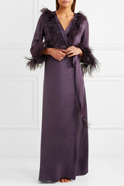 Feather-trimmed silk-satin robe