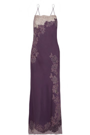 Carine Gilson Chantilly lace-trimmed silk-satin nightdress