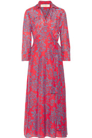 Printed cotton and silk-blend wrap dress