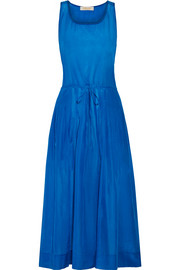 Pleated cotton and silk-blend gauze midi dress