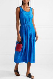 Diane von Furstenberg Pleated cotton and silk-blend gauze midi dress