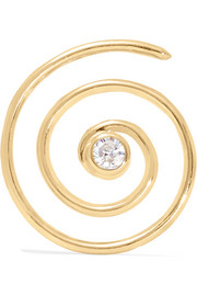 Spiral 10-karat gold diamond earring
