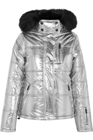 Rio hooded faux fur-trimmed metallic ski jacket