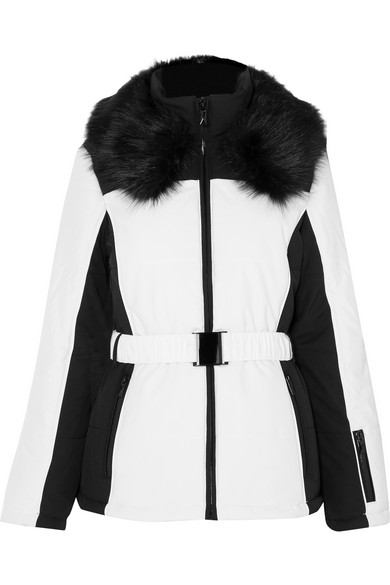 Panther faux fur-trimmed two-tone ski jacket