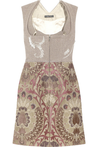 Marios Schwab Wool Blend Crystal Embellished Brocade
