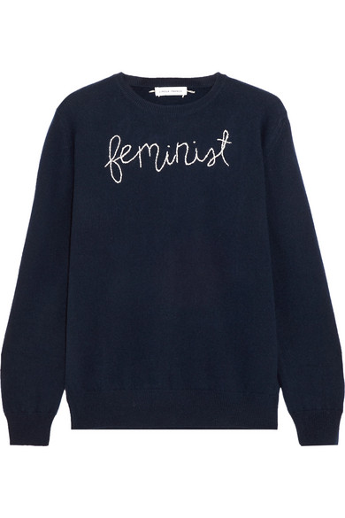Lingua Franca Feminist bestickter Kaschmirpullover