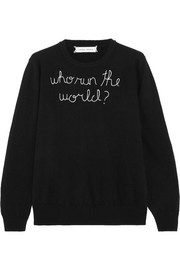 Who Run The World embroidered cashmere sweater