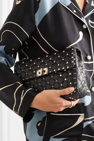 Valentino Rockstud Spike mittelgroße Schultertasche aus gestepptem Leder