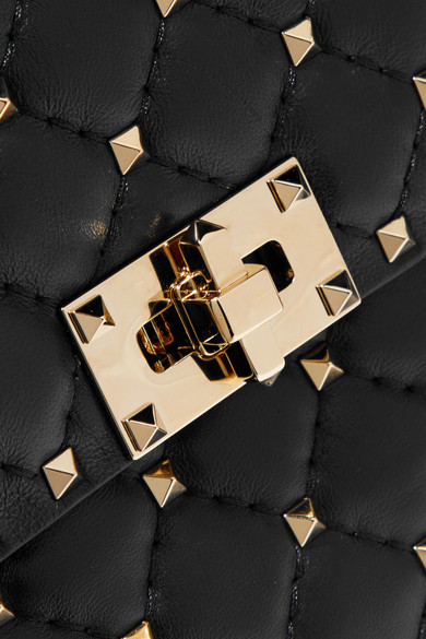 Valentino Rockstud Spike große Schultertasche aus gestepptem Leder