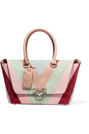 Valentino The Rockstud medium paneled suede and leather tote