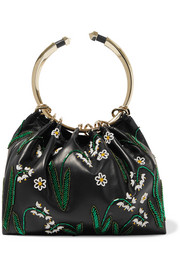 Valentino Bead-embellished leather tote