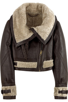 Burberry Prorsum Cropped shearling aviator jacket