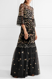 Climbing Blossom embellished embroidered tulle gown