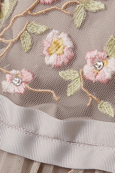 Needle & Thread Climbing Blossom verziertes Minikleid aus Tüll mit Stickereien