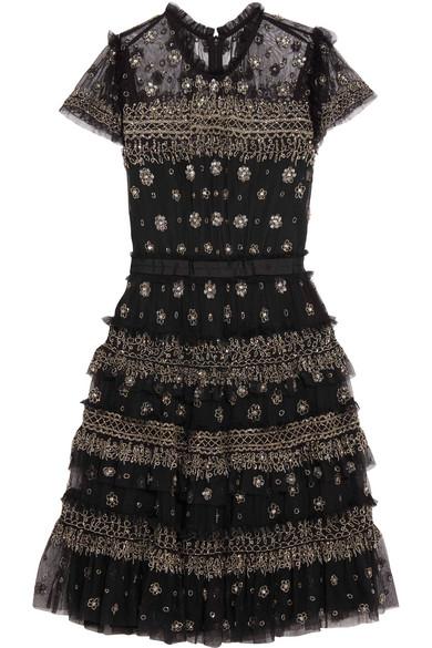 Needle & Thread Andromeda verziertes Minikleid aus Tüll mit Rüschen