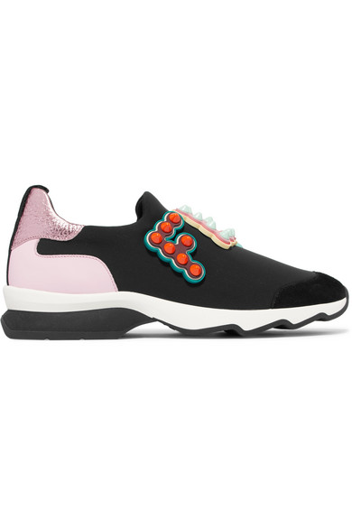 Logo-embellished Leather And Suede-trimmed Neoprene Sneakers - Black Fendi alcZ8ZZ3y8