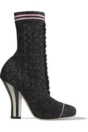 Metallic stretch-knit sock boots