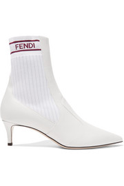 Fendi Logo-jacquard ribbed stretch-knit and leather sock boots