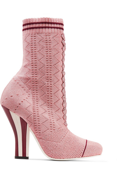 Fendi Sock Boots aus Metallic-Stretch-Strick