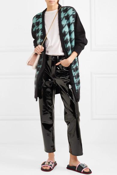Fendi Pantoletten aus Leder und Gummi mit Ripsbandbesatz und Logoverzierung