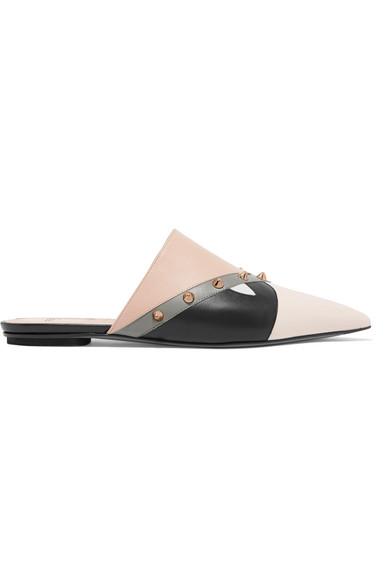 Fendi Slippers aus Lederpartien mit Nieten Günstig Kaufen Zuverlässig xQna1A6