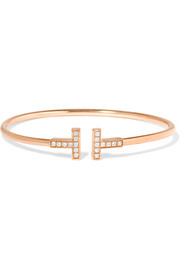T Wire 18-karat rose gold diamond bracelet