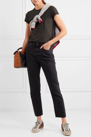 James Perse Zig Zag T-Shirt aus Jersey aus einer Baumwoll-Wollmischung