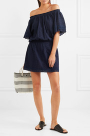 Melissa Odabash Michelle off-the-shoulder lace-trimmed embroidered cotton-voile mini dress
