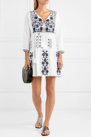 Melissa Odabash Millie embroidered cotton-voile mini dress