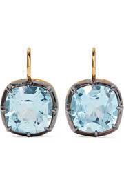 Collection 18-karat gold, silver and topaz earrings