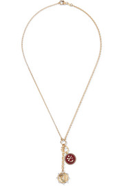 Spark and Crossed Arrows 18-karat gold, enamel and diamond necklace