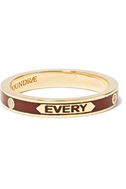 With Every Breath Ring aus 18 Karat Gold mit Emaille und Diamanten