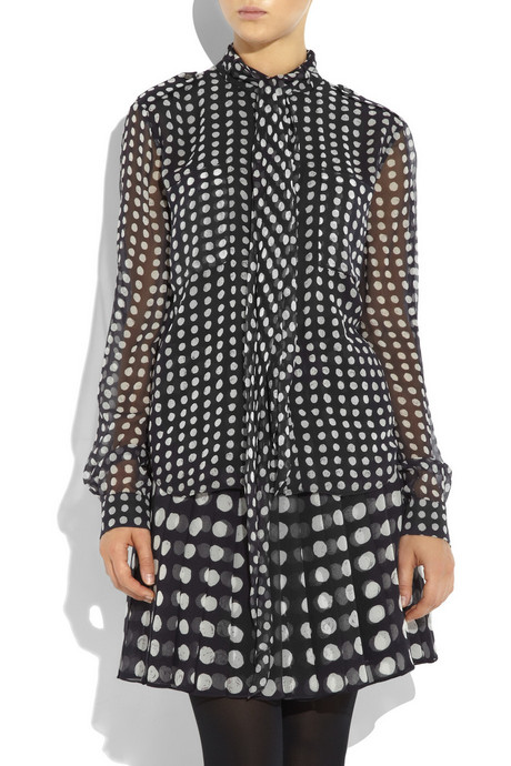 Jason Wu Dot-pattern silk-chiffon shirt