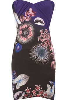 Roberto Cavalli Boned printed satin-jersey dress