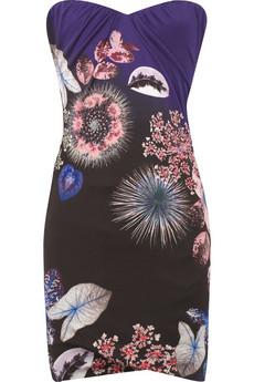 Roberto Cavalli Boned printed satin-jersey dress