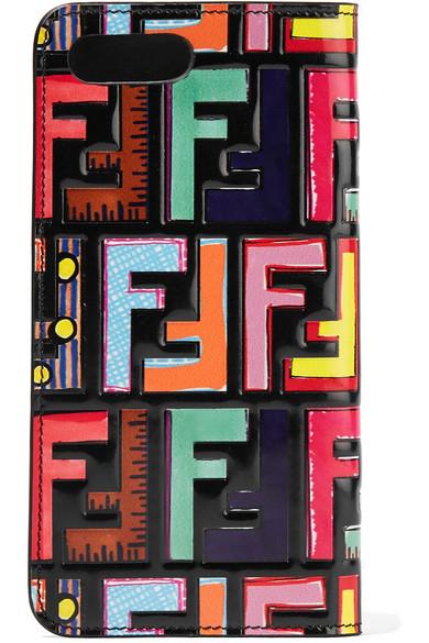 Fendi - Embossed Printed Leather Iphone 7 Plus Case - Black