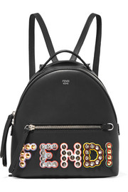 Studded appliquéd leather backpack