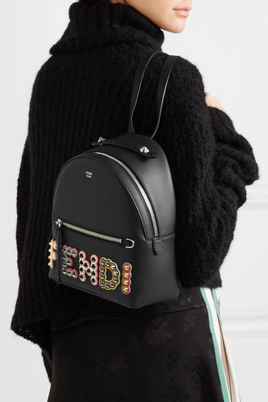 Fendi Rucksack aus Leder mit Nieten und Apllikationen