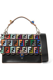 Fendi Kan I embossed printed leather shoulder bag