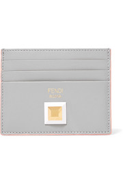 Two-tone studded leather cardholder