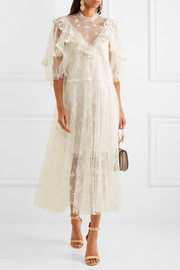 Chloé Ruffled embroidered lace gown