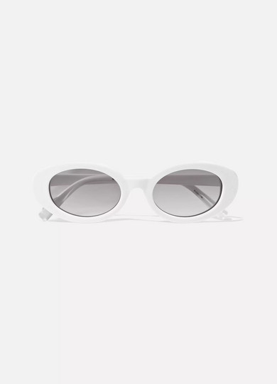 Mckinley Oval-Frame Acetate Sunglasses in White