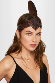 Braided leather and feather headpiece