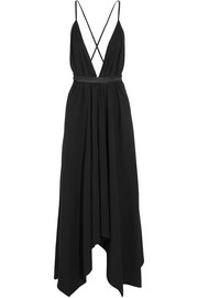 Alimia leather-trimmed cotton maxi dress