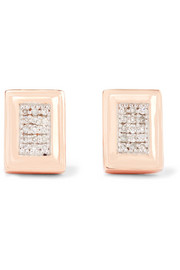 Monica Vinader Baja Deco rose gold vermeil diamond earrings
