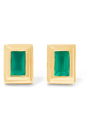 Monica Vinader Baja Deco gold vermeil onyx earrings
