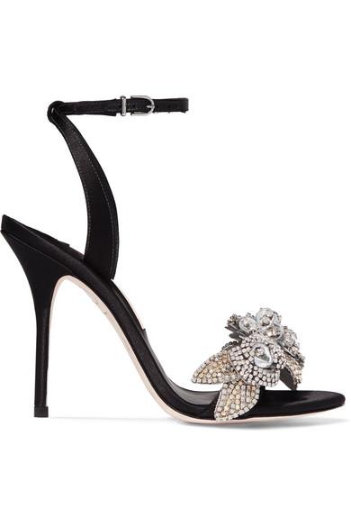 Sophia Webster - Lilico Crystal-embellished Satin Sandals - Black at NET-A-PORTER