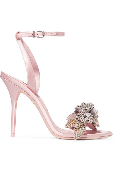 Lilico Crystal-Embellished Satin Sandals, Baby Pink
