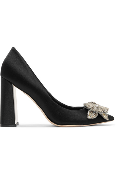 LILICO CRYSTAL-EMBELLISHED SATIN PUMPS